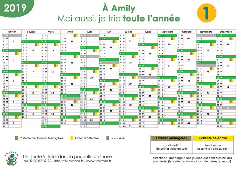 Calendrier Eboueur 2020.Ville D Amilly Ordures Menageres